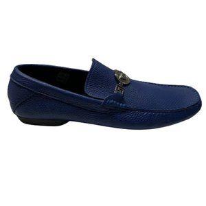 Versace Men's Leather Loafers Blue-EU size 45
